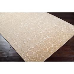 Hand Knotted Beige Abstract Design Wool Rug (9' x 13') - Thumbnail 1
