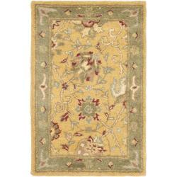 Safavieh Handmade Traditions Gold/Sage Wool Rug (2' x 3')