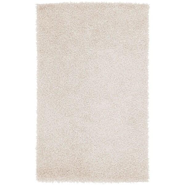 Hand-woven White Soft Shag Area Rug - 5' x 8'
