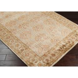 Hand-tufted Beige New Zealand Wool Rug (5' x 8')