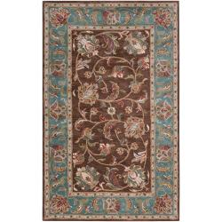 "Hand-Tufted Bray Brown/Blue Traditional Border Wool Rug (5' x 7'9"")"
