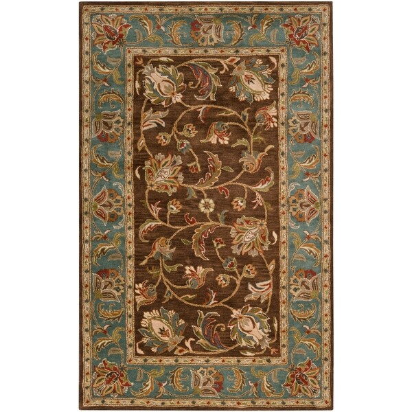 Hand-Tufted Bray Brown/Blue Traditional Border Wool Area Rug - 5' x 7'9