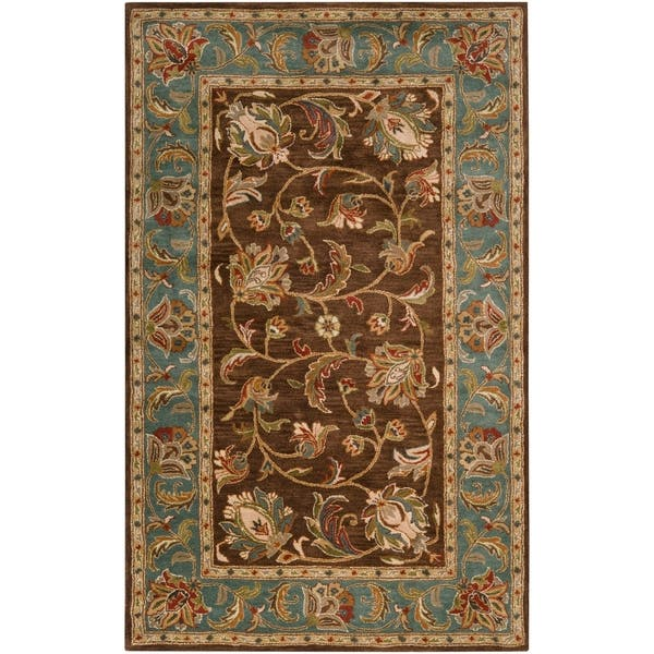 Hand Tufted Bray Brown Blue Traditional Border Wool Area Rug 5 X 7 9 Overstock 6450171