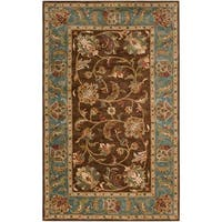 Hand-Tufted Bray Brown/Blue Traditional Border Wool Area Rug - 5' x 7'9""