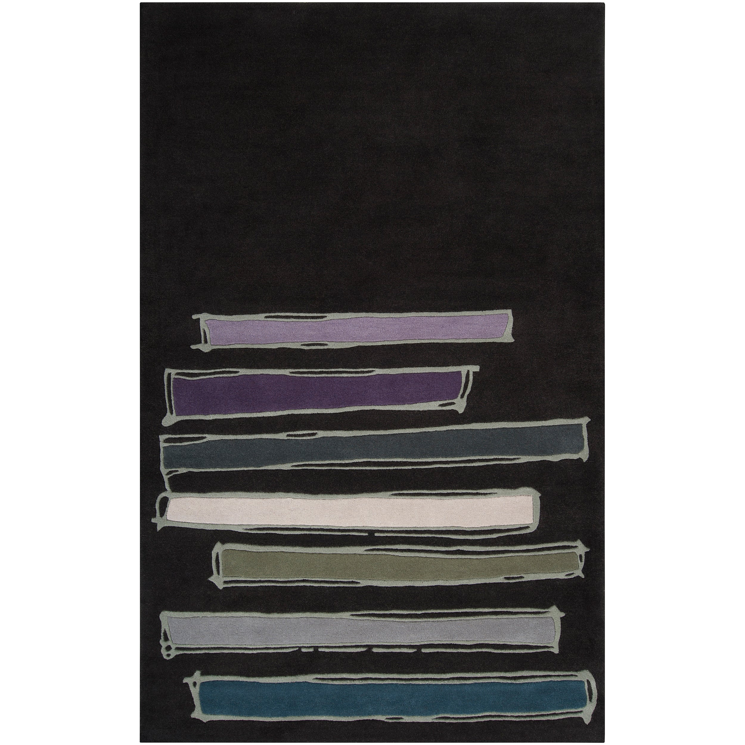 Noah Packard Hand-tufted Black Contemporary Nile Abstract New Zealand Wool Abstract Rug (5'