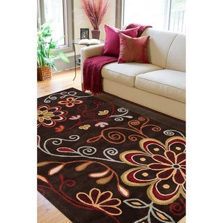 Hand-Tufted Navan Brown/Multi-Colored Transitional Floral Wool Rug (12' X 15')