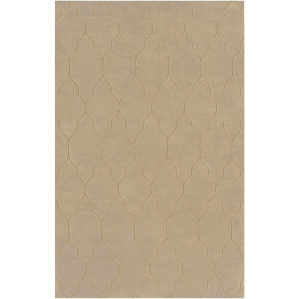 Hand-Knotted Clare Beige/Ivory Transitional Geometric Wool Area Rug - 9' x 13'