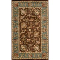 Hand-Tufted Saale Brown/Teal Traditional Border Wool Area Rug - 9' x 12'