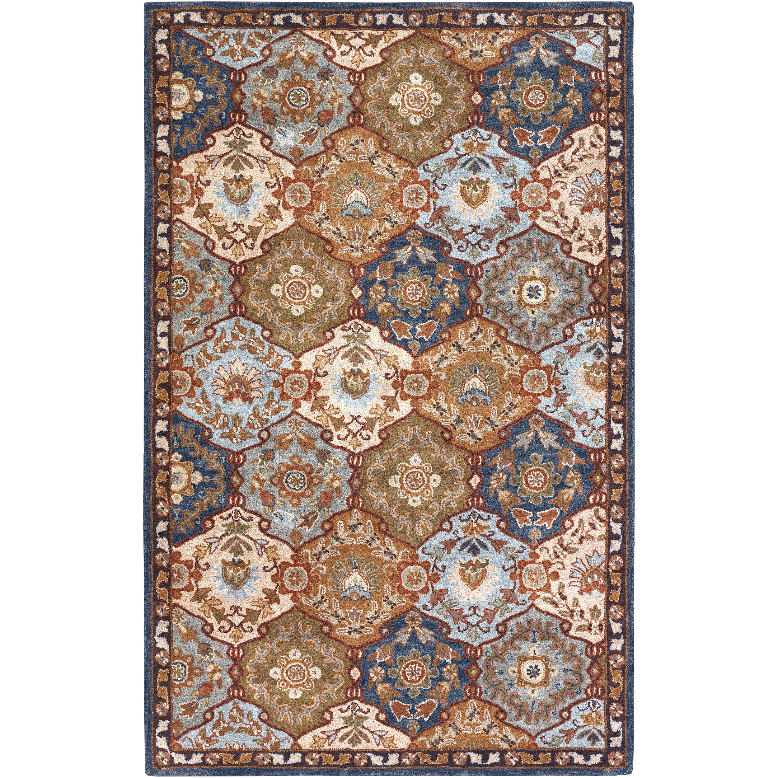 Hand Tufted Rhine Blue Multi Colored Traditional Border