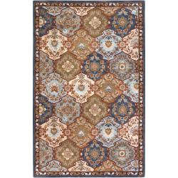 Hand-Tufted Rhine Blue/Multi-Colored Traditional Border Wool Rug (12' X 15')