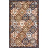 Hand-Tufted Rhine Blue/Multi-Colored Traditional Border Wool Area Rug (12' x 15')