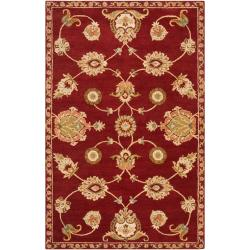 Hand-Tufted Naas Red/Ivory Traditional Floral Wool Area Rug (8' x 11') - Thumbnail 0