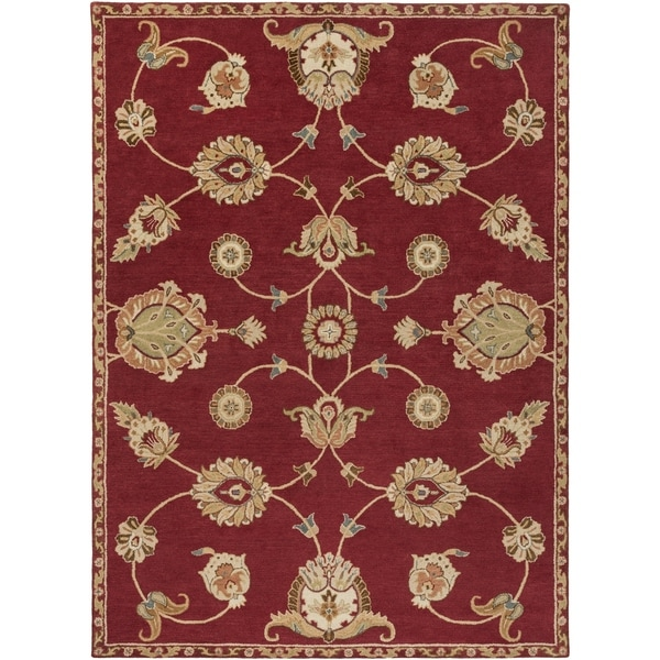 Hand-Tufted Naas Red/Ivory Traditional Floral Wool Area Rug - 8' x 11'