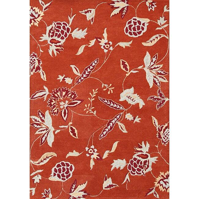 Alliyah Handmade Rust New Zealand Blend Wool Rug (5' x 8')