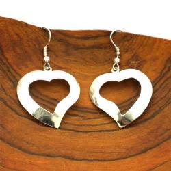 Silvertone Cut-Out Heart Earrings (Mexico)