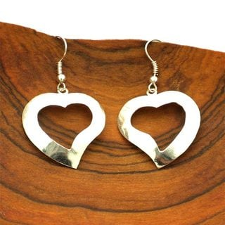 Handmade Silvertone Cut-Out Heart Earrings (Mexico)