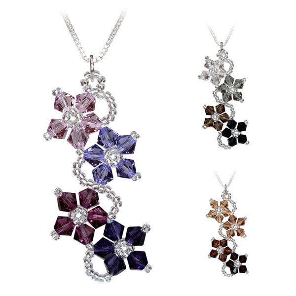 Handmade Sterling Silver Flower Crystal Necklace (USA)