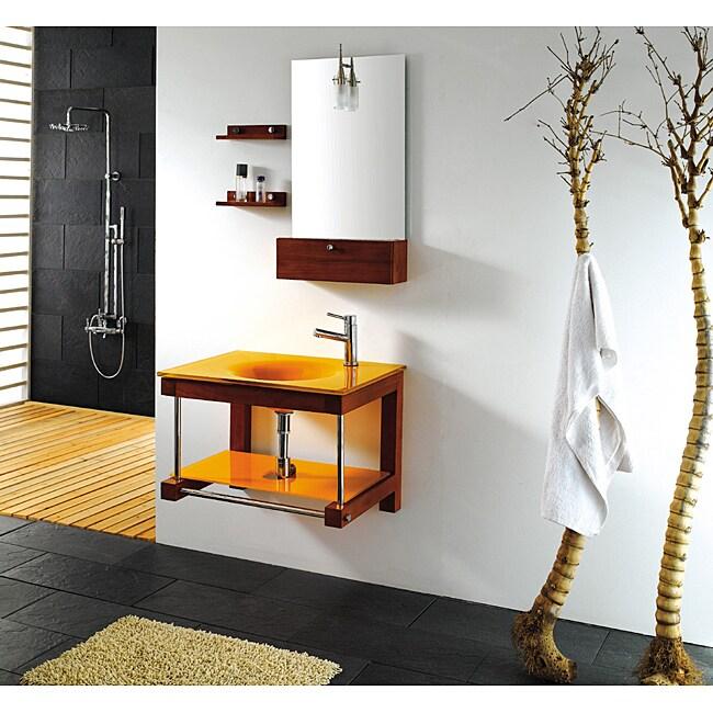 Solid Oak Orange Glass 27.5-inch Bathroom Vanity