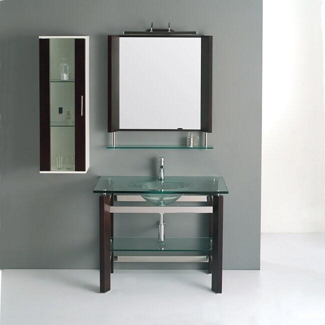 Solid Oak Coffee Brown 41.2-inch Bathroom Vanity