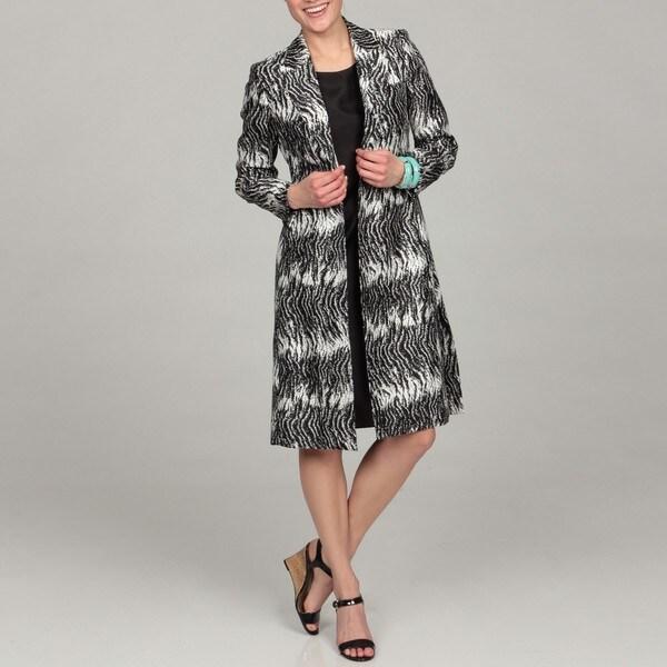 Shop Le Suit Women S Black White Animal Print Jacket Dress Free