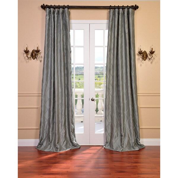 Exclusive Fabrics Alexandria Platinum Faux Silk Embroidered 120-inch Curtain Panel