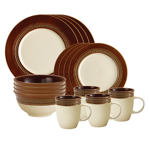 Paula Deen Dinnerware Southern Gathering 16-piece Set, Chestnut