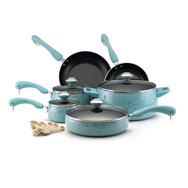 Paula Deen Signature Collection Porcelain Nonstick 15-piece Aqua Speckle Cookware Set. Opens flyout.