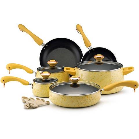Paula Deen Signature Collection Porcelain Nonstick 15-piece Butter Speckle Cookware Set