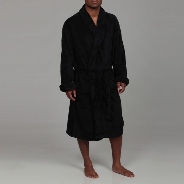 Woven Workz Unisex Boston Microfiber Black Bath Robe