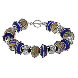 La Preciosa Silvertone Yellow and Blue Glass Bead Leather Bracelet