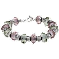 La Preciosa Silvertone Pink and Green Glass Bead Leather Bracelet