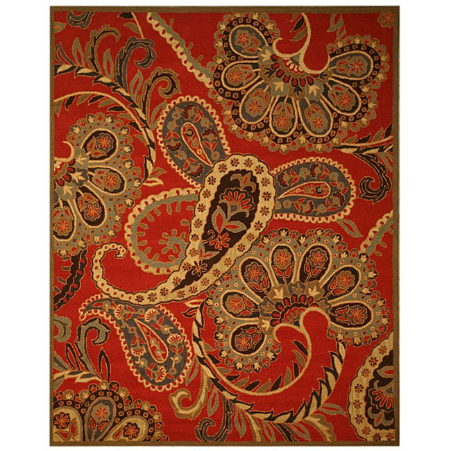 EORC Hand-tufted Wool Red Red Paisley Rug (8' x 10')