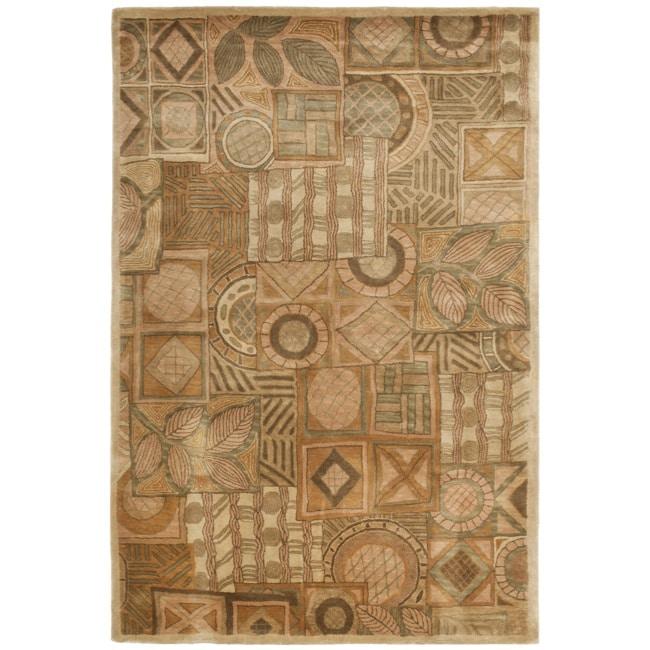 Safavieh Handmade Plaid Beige Wool Rug - 8' x 10'