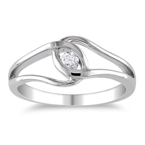 Miadora High Polish Sterling Silver 1/10ct TDW Diamond Promise Ring