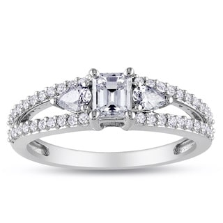 Miadora Signature Collection 14k White Gold 1ct TDW Emerald-cut and Pear Shape Diamond Split Shank Engagement Ring (G-H, I1-I2)