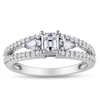Miadora Signature Collection 14k White Gold 1ct TDW Emerald-cut and Pear Shape Diamond Split Shank Engagement Ring (G-H, I1-I2)|https://ak1.ostkcdn.com/images/products/6452304/6452304/Miadora-14k-White-Gold-1ct-TDW-Diamond-Ring-G-H-I1-I2-P14051798.jpg?impolicy=medium
