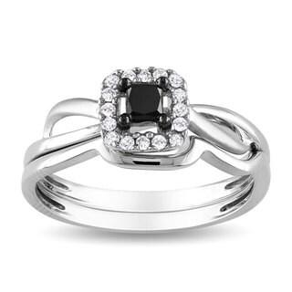 Miadora 10k White Gold 1/3ct TDW Black and White Diamond Bridal Ring Set