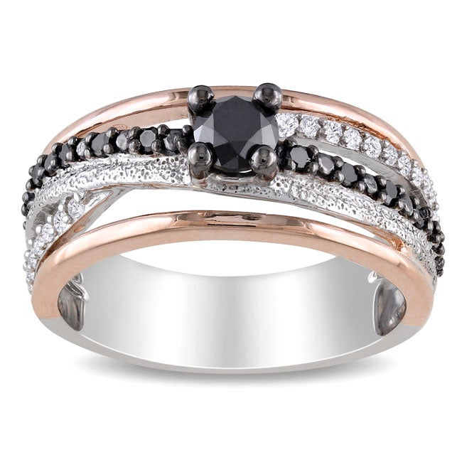 Silver 3/4ct TDW Black and White Diamond Ring (H-I, I3)