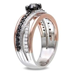 Silver 3/4ct TDW Black and White Diamond Ring