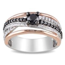Silver 3/4ct TDW Black and White Diamond Ring
