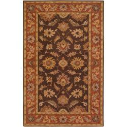 Hand Tufted Belcher Brown Floral Border Wool Rug (12' x 15')