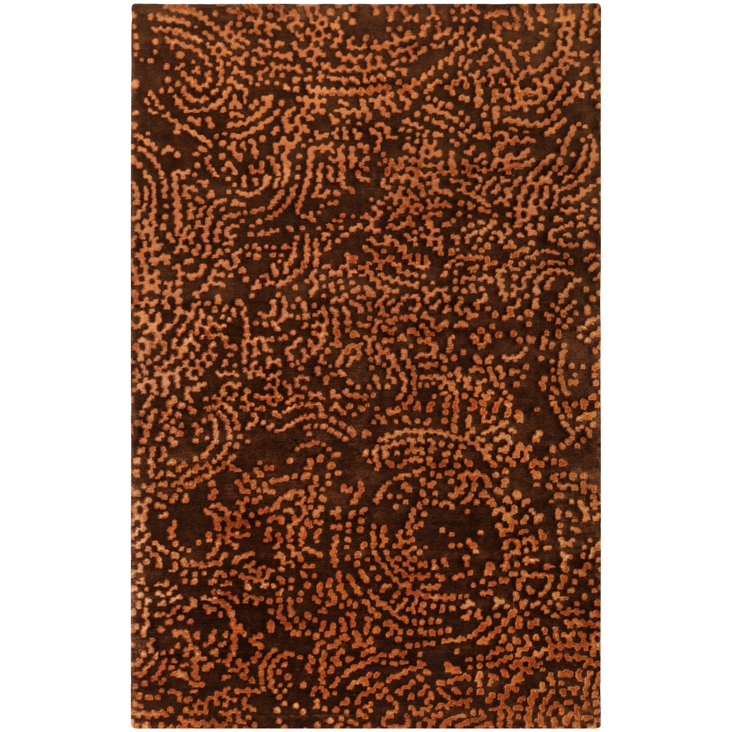 Hand-knotted Contemporary Brown/Tan Kipengre Semi-Worsted New Zealand Wool Abstract Rug (