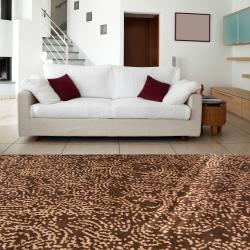 Hand-knotted Contemporary Brown/Tan Kipengre Semi-Worsted New Zealand Wool Abstract Rug ( - Thumbnail 1