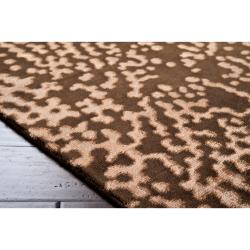 Hand-knotted Contemporary Brown/Tan Kipengre Semi-Worsted New Zealand Wool Abstract Rug ( - Thumbnail 2