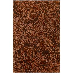 Hand-knotted Contemporary Brown/Tan Kipengre Semi-Worsted New Zealand Wool Abstract Area Rug - 5'x 8' - Thumbnail 0
