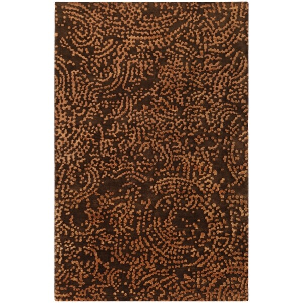 Hand-knotted Contemporary Brown/Tan Kipengre Semi-Worsted New Zealand Wool Abstract Area Rug - 5' x 8'