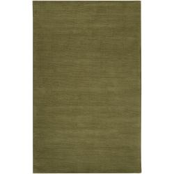 Hand-crafted Solid Green Casual Brenta Wool Rug (12' x 15')