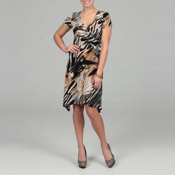 Scarlett Women's Black Abstract Wrap Dress