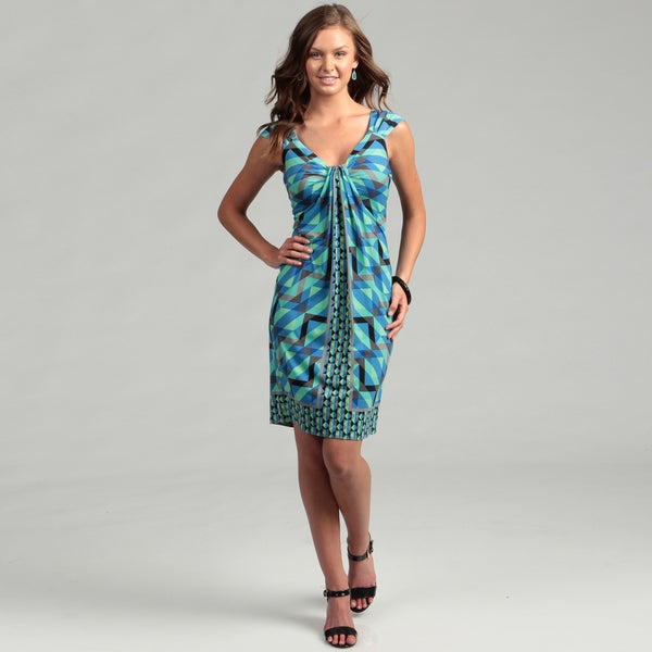 London Times Women's Slate/ Aqua Waterfall Dress