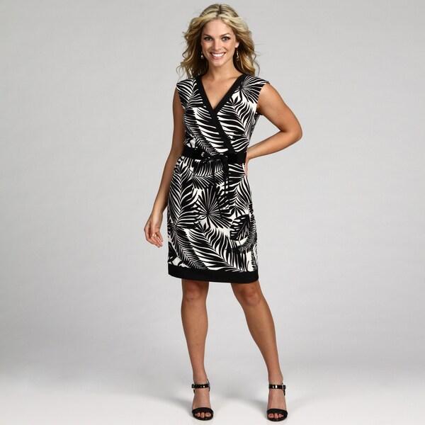 London Times Women's Soft White/ Black Dress